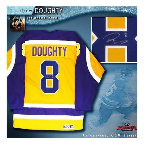 new concept 3448c bca1f new Autographed Drew Doughty Jersey - Yellow CCM Vintage ...
