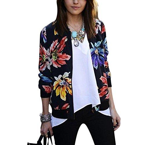Women Vintage Long Sleeve Top Floral Print Coat Outwear Zipper Jacket Plus Size (M)