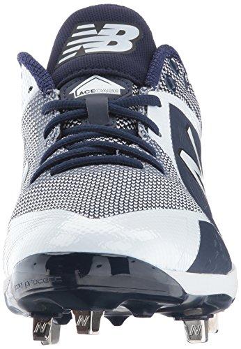 New Balance Herren L4040v4 Metall Baseball-Schuh Marine / Weiß