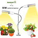 Grow Light with Free E-Book for Indoor Plants 50W 100 LED New 2019 Best on Amazon IdentiGrow Sunlike Full Spectrum Replaceable Bulb Dual Switch Better Than Relassy