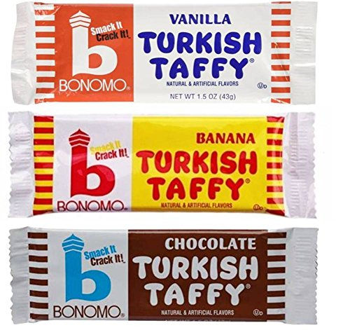 (Bonomo Turkish Taffy Candy 3 Flavor 9 Bar Variety Bundle: (3) Bonomo Vanilla Turkish Taffy, (3) Bonomo Chocolate Turkish Taffy, and (3) Bonomo Banana Turkish Taffy, 1.5 Oz. Ea. (9 Bars Total))