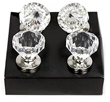 Clear Diamond Door Knobs Gem Crystal Wardrobe Drawer Cabinet Handles Pack  Of 4