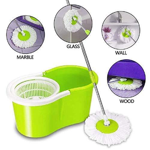 Mop Floor Cleaner with Bucket Set Offer with Big Wheels for Best 360 Degree Easy Magic Cleaning, 4 Microfiber (Colour May Vary) (B0886KCF4Q) Amazon Price History, Amazon Price Tracker