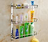 YAOHAOHAO Bath rooms bathroom shelving shelf 304 stainless steel towel rail 3-layer bath rooms storage rack (Size: 30 cm).