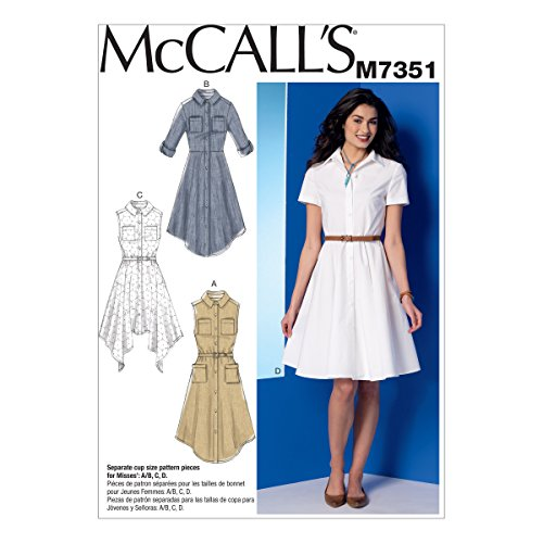 McCall's Patterns M7351 Misses' Shirtdresses with Pockets and Belt, Size A5 (6-8-10-12-14) (Shirt Misses Dress)