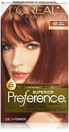 L'Oréal Paris Superior Preference Fade-Defying + Shine Permanent Hair Color, 6R Light Auburn, 1 kit Hair Dye