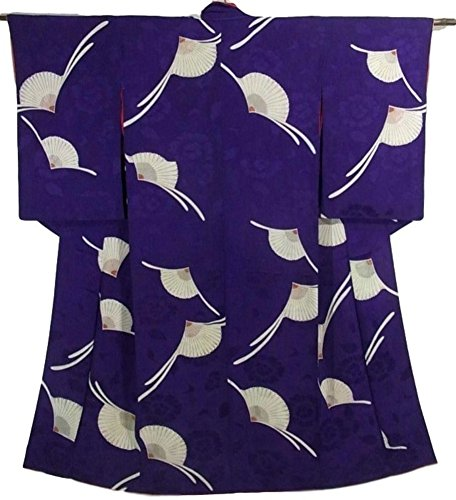 舗装するインストラクター不良品アンティーク 着物 菊の花模様 正絹 袷 綸子 裄61.5cm 身丈147cm