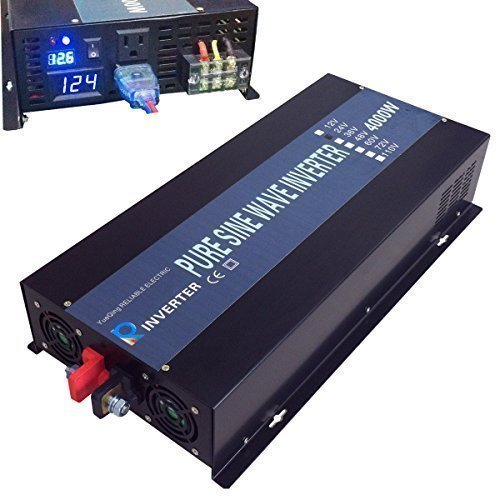 Reliable 4000W 24V 120V High Frequency LED Display Off Grid DC To AC Voltage Converter Home Power Supply True Pure Sine Wave Solar Power Inverter(Black) by WZRELB
