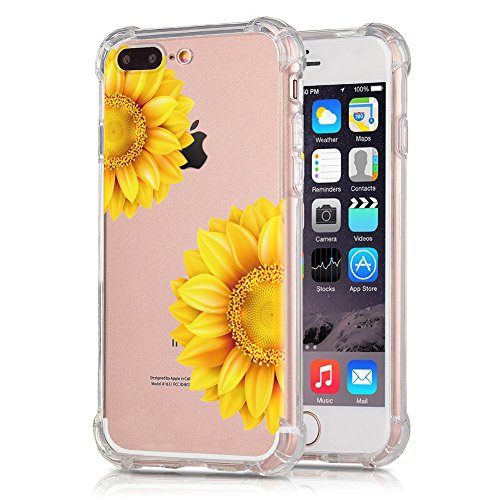 Sunflower Protective Case (Sunflower iPhone 7 Plus Case, iPhone 8 Plus Case, OJSCOV Clear Flower Design Soft TPU Floral Printed Bumper Protective Cover, 5.5 inch (Sunflower))
