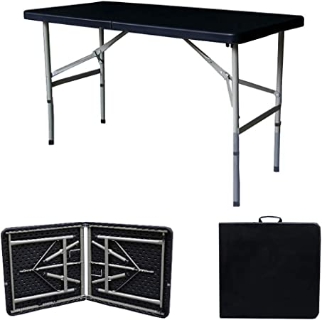 JQQJ Mesa Plegable mesas Plegables portátil for Fiestas de Picnic Camping Rectangular Jardín de Tabla Plegable mesas Plegables terraza (Color : Black, Size : 1.2x0.74 Meter): Amazon.es: Hogar