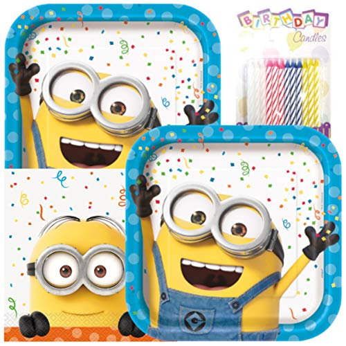 (Despicable Me Minion Theme Plates and Napkins Serves 16 with Birthday)