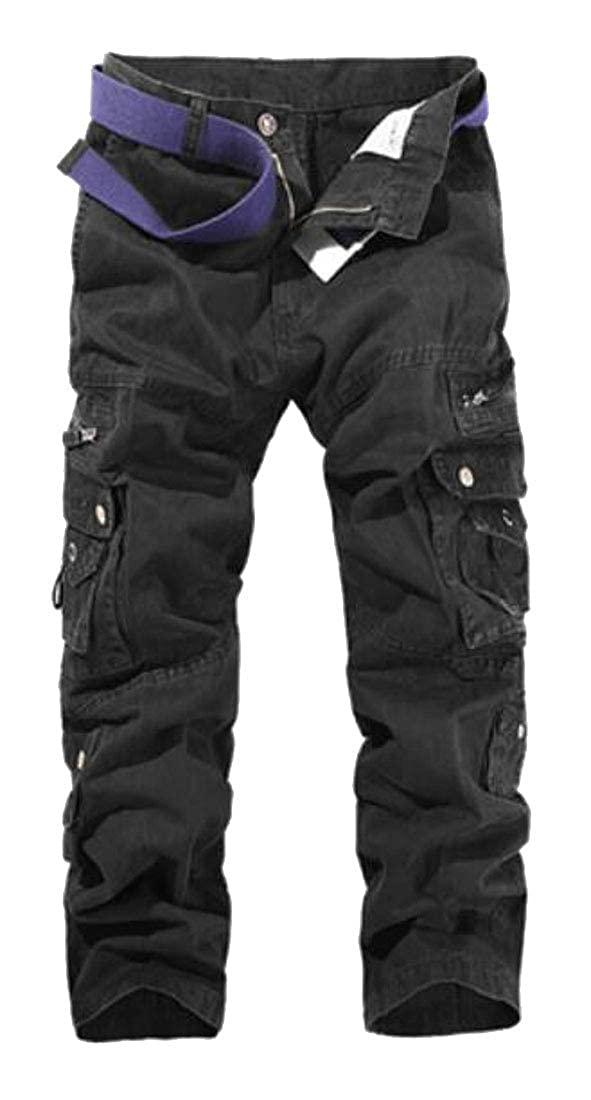 Domple Mens Multi-Pockets Casual Loose Straight Leg Solid Cotton Cargo Pants