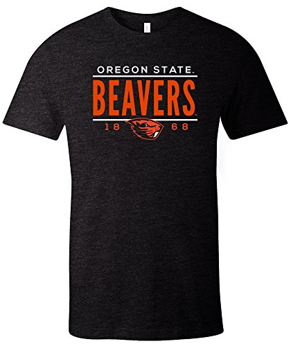 NCAA Oregon State Beavers Tradition Short Sleeve Tri-Blend T-Shirt, Solid Black,Medium