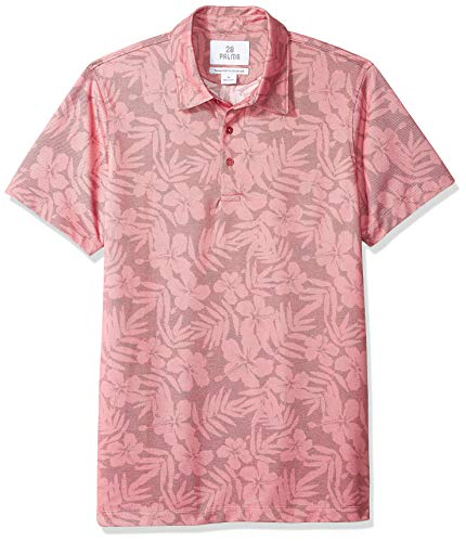 - 28 Palms Men's Relaxed-Fit Performance Cotton Tropical Print Pique Golf Polo Shirt, Washed Cardinal Red Hibiscus Floral, X-Large