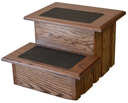 Deep Walnut Finished Solid Oak Step Stool With Non Slip Pad on a  Solid Tread 11 ½'' Tall by Premier Pet Steps