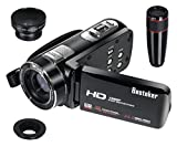 Camcorder, Besteker Portable HD 1080p 24.0 Megapixels Enhanced 16X Digital Zoom Video Camcorders DV Touch Screen HDMI Recorder with Remote Control and 12x Teleconverter Wide Angle Lens(Z18 plus)