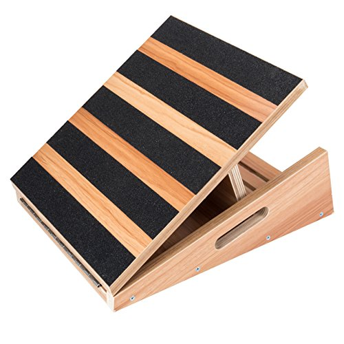 "Professional Wooden Slant Board, Adjustable Incline Board and Calf Stretcher, Stretch Board - Extra Side-Handle Design for Portability - 16"" X 12.5"", 5 Positions (450 LB Capacity) (Partial-Coverage)"