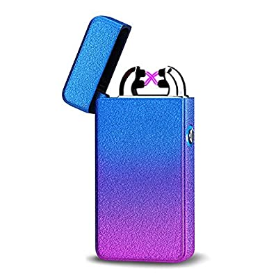 Kivors USB Rechargeable Windproof Dual Arc Lighter Flameless Electronic Plasma Cigarette Lighter Frosted Lighter with Blue Button Light