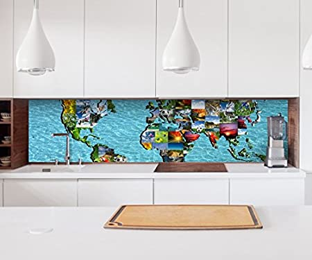 Aufkleber Kuchenruckwand Weltkarte Karte Bilder Modern Collage Welt