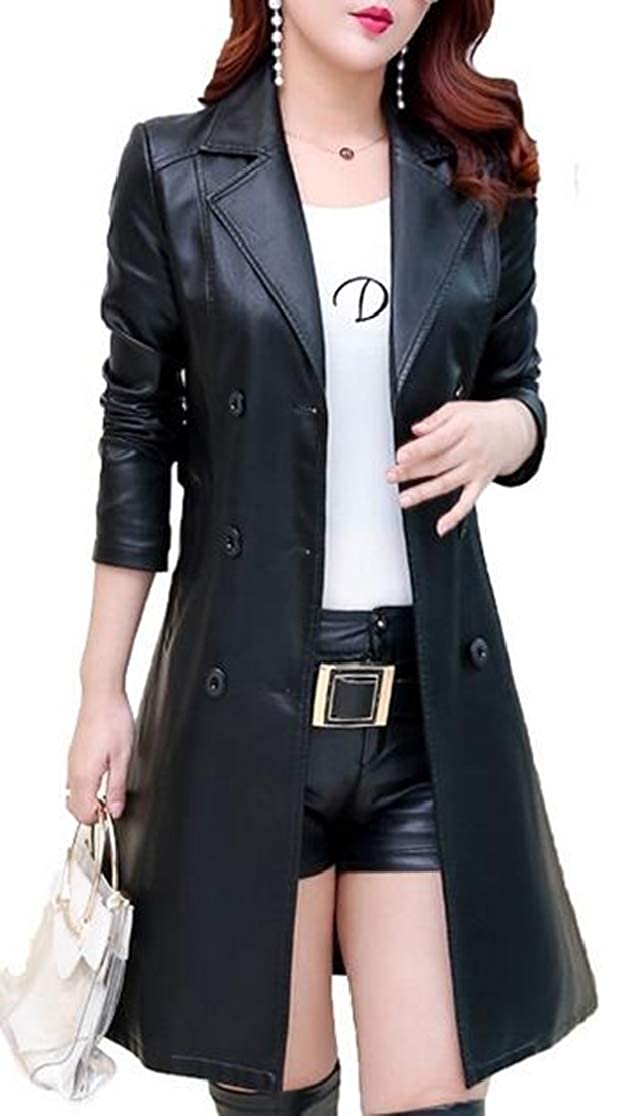 2 Esast Women Lapel Double Breasted Belt Faux Leather Long Trench Overcoat