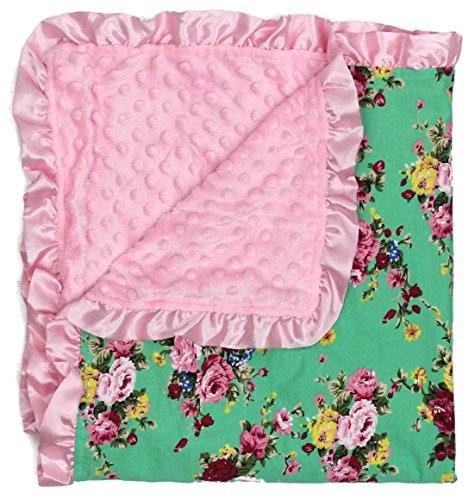 Floral Rose Fabric (Dear Baby Gear Baby Blankets, Vintage Floral Pink Roses on Mint, Pink Minky)