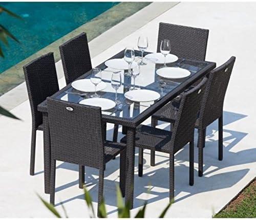 Ensemble table de jardin + 6 chaises acier et résine tressée ...