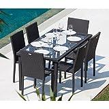 Ensemble table de jardin + 6 chaises acier et résine tressée gris anthracite