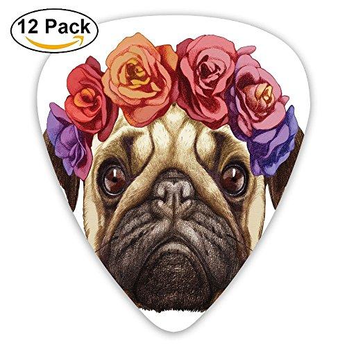 Newfood Ss Floral Head Wreath On Head Of Pug Hand Drawn Cute Dog Image Animals Nature Decorative Guitar Picks 12/Pack Set