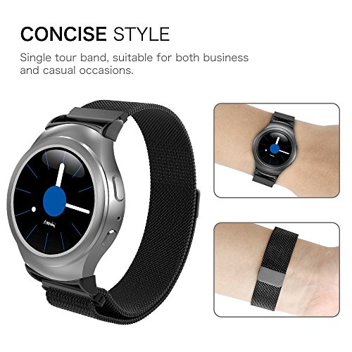 Gear S2 Watch Band [Large], Fintie [Magnet Lock] Milanese Loop Adjustable Stainless Steel Replacement Strap Bands for Samsung Gear S2 SM-R720 / SM-R730 Smart Watch - Black by Fintie (Image #8)
