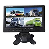 SallyBest® 9 Inch 16:9 HD 4 Split Quad Color TFT LCD Display Monitor 4 Video Input Car Rear View Monitor DVD VCR Camera GPS Headrest Monitor For Car Truck Bus