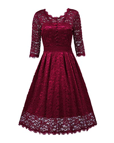 NALATI Women Vintage 1/2 Sleeve Round Neck V-Back Floral Print Lace Party Cocktail Dress Wine Red