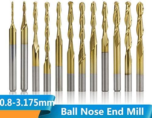 CHENWN 10Pcs 3,175 Mm Schaft 0.8-3.175Mm Titanbeschichtete Kugelfräser Hartmetall Spiralfräser CNC-Fräser,2xD3.175x22x38L
