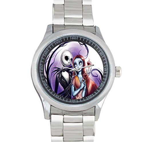 Metal Watch Stainless Steel Analog Sport Wristwatch Designed Jack and Sally Pattern