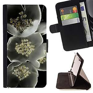 - Black White Artistic Beautiful Floral - Estilo PU billetera de cuero del soporte del tir???¡¯???3n [solapa de cierre] Cubierta- For Sony Xperia m55w Z3 Compact Mini ( Devil Case )