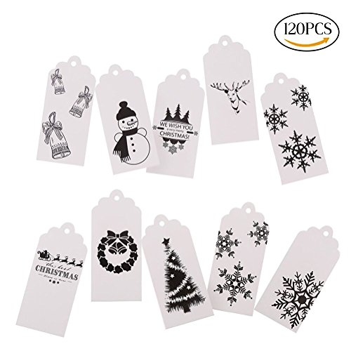 DECORA Pack of 120 White Christmas Gift Tags and 60 Meters Twine - 10 Different Designs Gift Wrapping Tags (Tags Felt Gift)