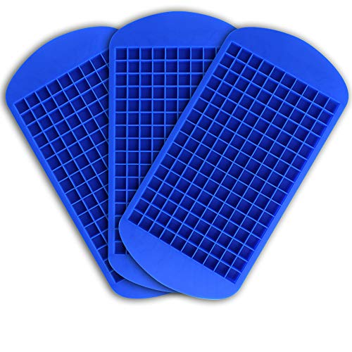 SHAND 3Pack Small Cube Silicone Tray Drink Faster Durable Reusable Ice Mold with 160 Mini Cube Capacity for Whiskey Juice Salad Drinks (Blue - Mini Ice