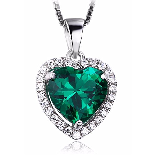 (VERA NOVA JEWELRY Dashing 2.34Ct Green Synthetic Emerald Heart-Shape Sterling Silver Pendant Necklace with 18-inch Box Chain)