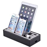 Black Leather Cell Phone Charging Station, 4 in 1 Multi Device Organizer for Apple Watch/Iphone iPad Charging Dock