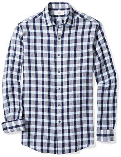 - BUTTONED DOWN Men's Classic Fit Spread-Collar Dress Casual Shirt, Dark Navy/Light Blue Large Check, XL 32/33
