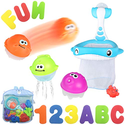 (Bath Toy Sets, 36 Bath Letters & Numbers, Floating Squirts Animal Toys Set with Fishing Net and Organizer Bag, Boat Catching Game for Kids Babies Infants Toddlers, Bathtub Time Pool Party Toys)