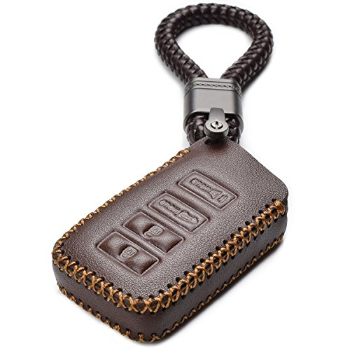 Vitodeco LEXUS 4 Buttons Leather Keyless Entry Remote Control Smart Key Case Cover with Braided Leather Key Chain ()