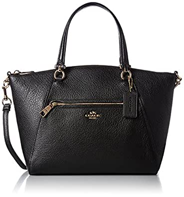 Coach Women S Pebbled Prairie Satchel Li Black Handbag