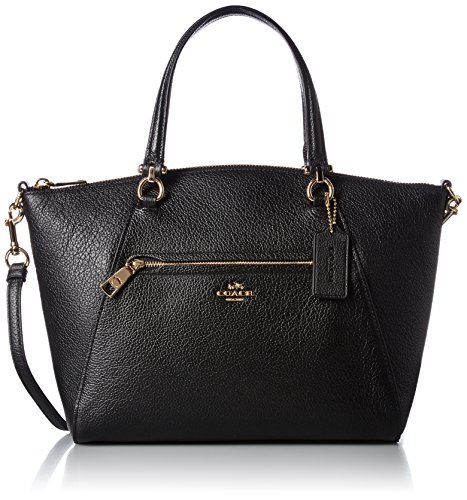 COACH Women's Pebbled Prairie Satchel LI/Black Handbag by Coach