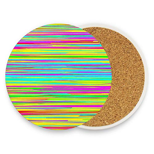 LoveBea Abstract Horizontal Stripes Coasters, Protect Your Furniture from Stains,Coffee, Drink Coasters Funny Housewarming Gift,Round Cup Mat Pad for Home, Kitchen Or Bar Set of 4
