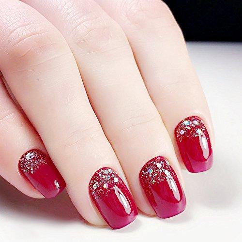 YuNail 24pcs Glitter Decorated Red Short Full False Nails Tips