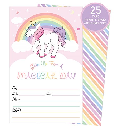 Unicorn Magical Invitations with Envelopes | 25 Invitations + 25 Envelopes | Birthday Party, Baby Showers Decorations and Other Events