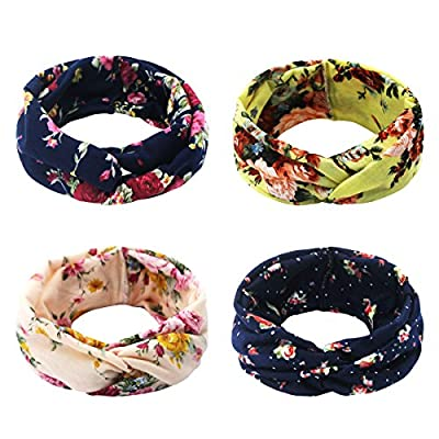 Ordenado 4 Pack Women's Headbands Elastic Turban Head Wrap Floal Hair Band