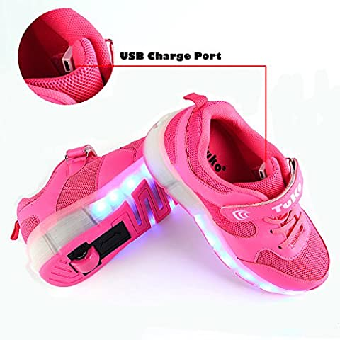 Tuko Rechargeable LED Skate Shoes for Girls,Rechargeable Light Roller Skate Shoes With Wheels Flashing Sneakers - Has Wheels