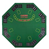 4 FOLD FOLDING PRO STYLE 8 PLAYERS 48'' OCTAGON POKER TABLE TOP VELVET TABLETOP BLACKJACK TEXAS HOLDEM GAME CHOICE WITH CARRYING CASE - GREEN