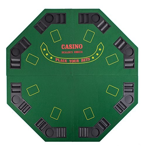 GREEN 48'' 4 FOLD FOLDING PRO STYLE 8 PLAYERS OCTAGON POKER TABLE TOP VELVET TABLETOP BLACKJACK TEXAS HOLDEM GAME CHOICE WITH CARRYING CASE by Pong-Buddy